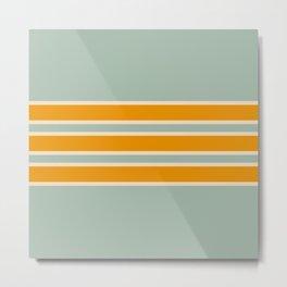 70s Style Mint Orange White Retro Stripes Pomona Metal Print