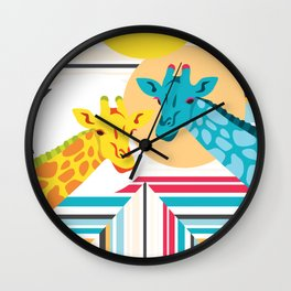 Giraffes In The Desert Wall Clock
