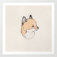 kit king Art Prints featuring Little Kit by Sarah McNeil
