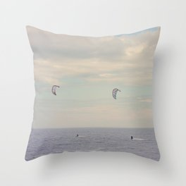 Kitesurfing on the St-Lawrence river (Québec, Canada) Throw Pillow