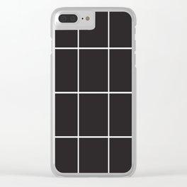 Blak White Grid Clear iPhone Case
