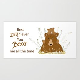 Father's day daddy bear and sun cub illustration Art Print