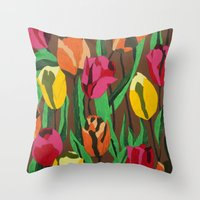 tulips Throw Pillows featuring Tulips  by Marjolein
