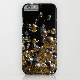 Elegant Abstract Geometry Explosion -Gold and Silver,Black- iPhone Case