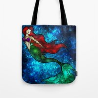 mandie manzano Tote Bags featuring The Mermaids Song by Mandie Manzano