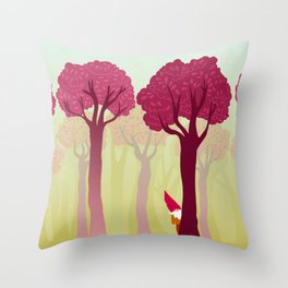 colorful forest with cute dwarf Throw Pillow