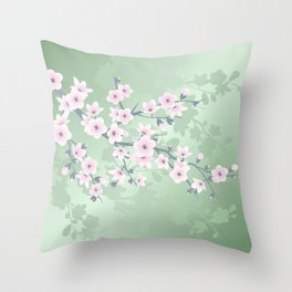 Pink Cherry Blossom Green Background Throw Pillow