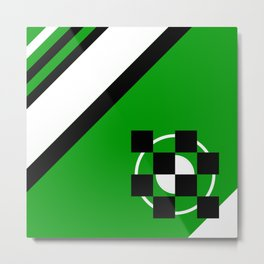 Simplicity - Green, black and white, geometric, abstract Metal Print