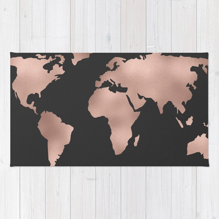 Black And White World Map Rug: Rose Gold World Map On Dark Gray Rug By Mapmaker
