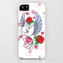 Cute Pigeon Flying - Peace & Love iPhone Case