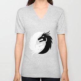 Black And White Dragon Yin Yang Harmony Taoism Gift Unisex V-Neck
