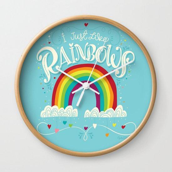 I Just Like Rainbows Wall Clock