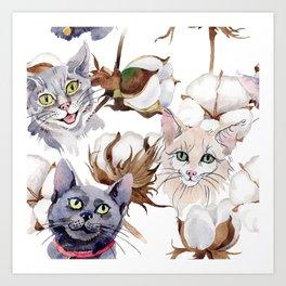 Cotton Flower & Cat Pattern 01 Art Print