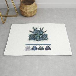 """Samurai 4. (Samurai mask """"D"""" big and 4 small masks) Rug"""