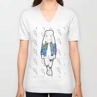 holographic V-neck T-shirts featuring Bunny Belle / Holographic by Millicent A Venton