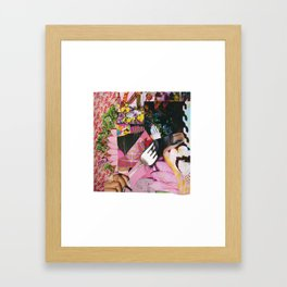 let them eat cake! a pink and green paper collage Framed Art Print