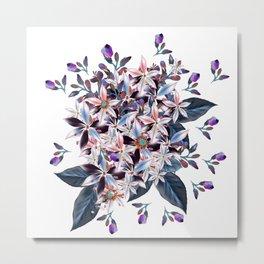 Beautiful watercolor flowers. Blue morning filed Metal Print