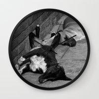 greek Wall Clocks featuring Greek Dogs by Upperleft Studios