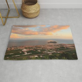 Coastal town in Azores Rug