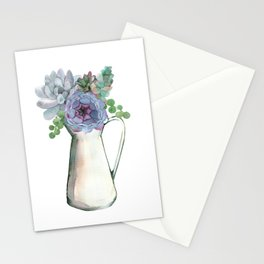 Succulents in Pitcher Stationery Cards