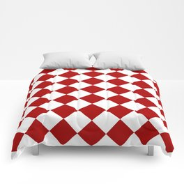 Red and white square pattern Comforters
