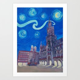 Starry Night In Munich - Van Gogh Inspirations with Church of Our Lady and City Hall Art Print