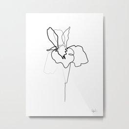 One line Iris Metal Print