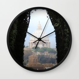 Italy Photography - St. Peter's Basilica Seen Through An Arch Of Leaves Wall Clock