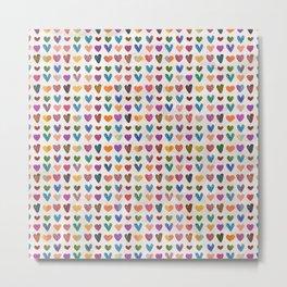 Tiny cute Hearts Pattern Metal Print