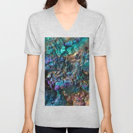 Turquoise Oil Slick Quartz Unisex V-Neck