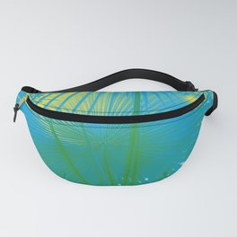 turquoise palm leaf Fanny Pack