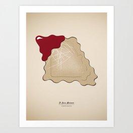Toasted Ravioli in shape of Missouri, St. Louis Famous Food Kitchen Art Art Print