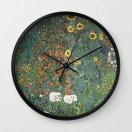 Gustav Klimt - Farm Garden with Sunflowers Wall Clock