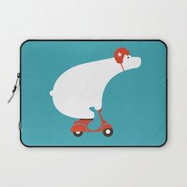 Polar bear on scooter Laptop Sleeve