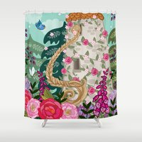 rapunzel Shower Curtains featuring Rapunzel by Angie Spurgeon