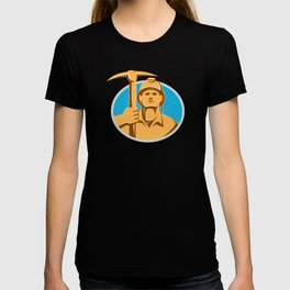 Coal Miner With Pick Ax Hardhat Front Retro T-shirt