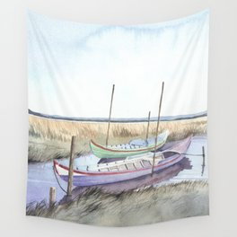River bank boats - Landscape - Ria de Aveiro , Portugal Wall Tapestry