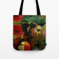 british Tote Bags featuring Under a British rain by Ganech joe