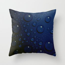 Midnight Blue to Stars in Droplets Polka Dots Throw Pillow