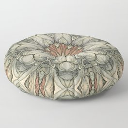 abstract flowers hand drawn and  kaleidoscope mandala Floor Pillow