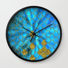 Blue Aqua Turquoise And Gold Glitter Mermaid Scales -Beautiful Mermaidscales Pattern Wall Clock
