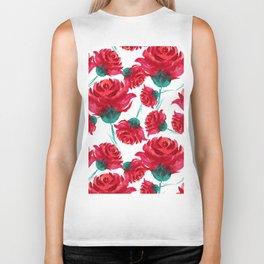Watercolor Red Roses Biker Tank