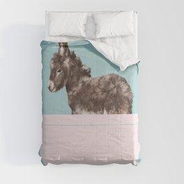 Baby Donkey in Bathtub Comforters