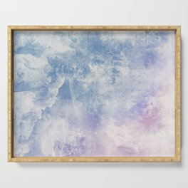 Clouds And Tides Abstract Painting Serving Tray