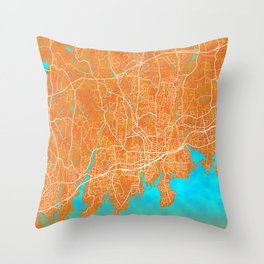 Stamford, CT, USA, Gold, Blue, City, Map Throw Pillow