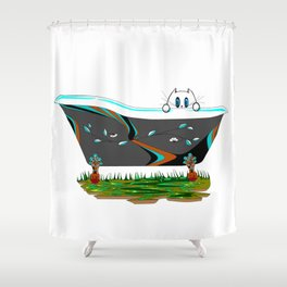 A Claw-foot Bathtub with a Kitty Shower Curtain
