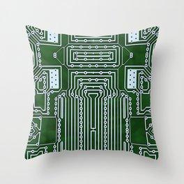 Computer Geek Circuit Board Pattern Throw Pillow