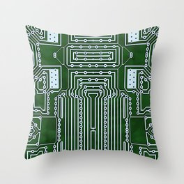 Computer Geek Circuit Board Pattern Throw Pillow
