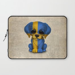 Cute Puppy Dog with flag of Sweden Laptop Sleeve