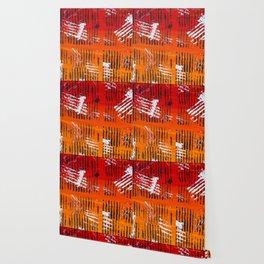 Abstract Acrylic Artist Painting Tribal Orange and Black Wild Art Wallpaper